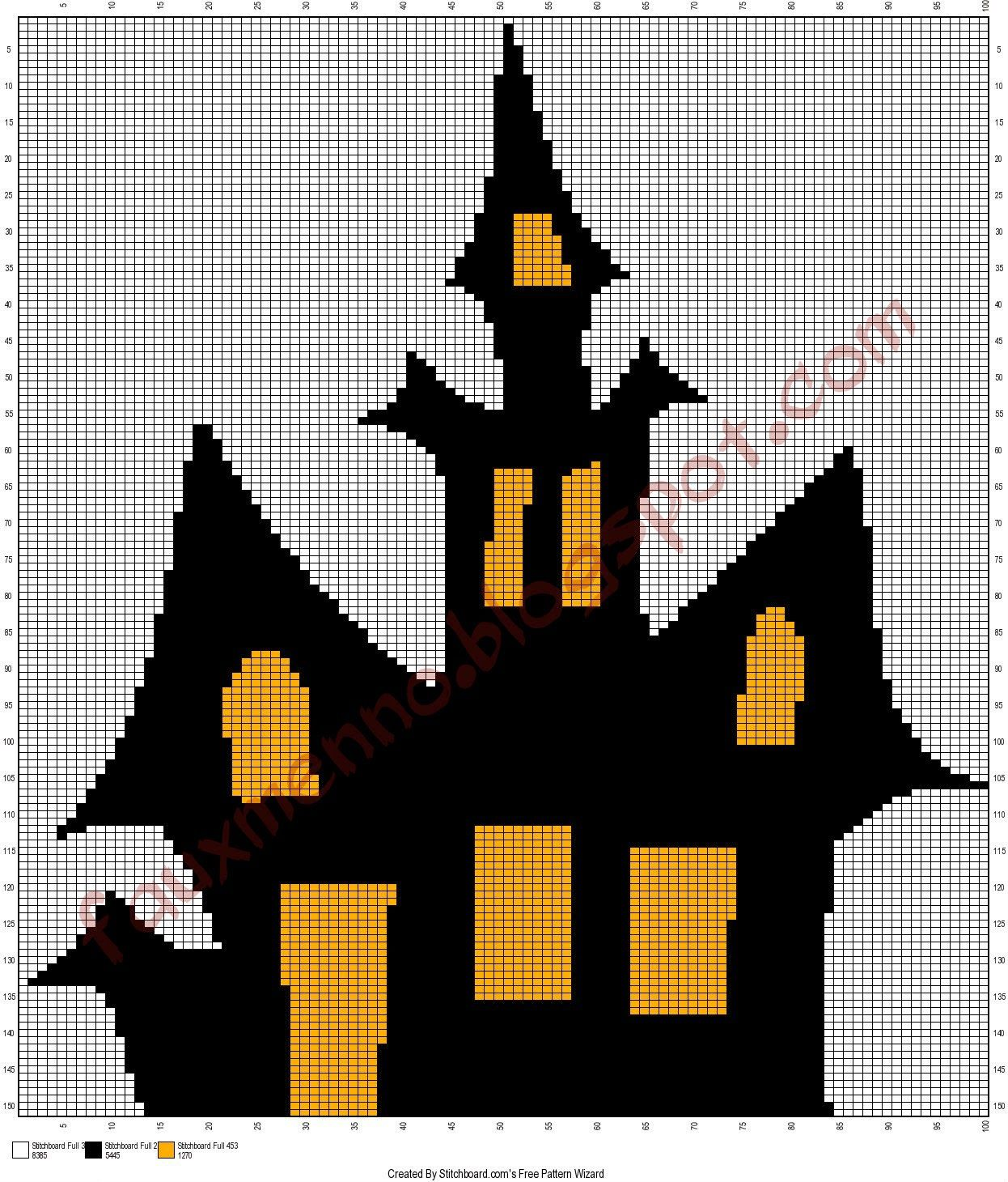 Free Halloween Haunted House Crochet Graph| The Faux Menno: Free ...