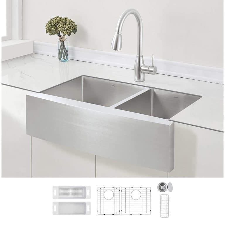 Zuhne 33 Inch Stainless Steel Double Kitchen Sink Apron Sink Double Kitchen Sink Sink