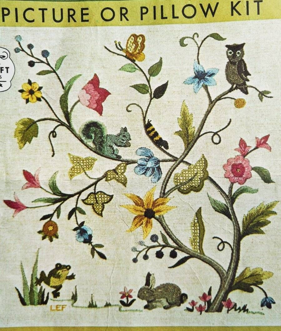 Jacobean Floral Tree Of Life Bird Animal Vtg Elsa Williams Crewel