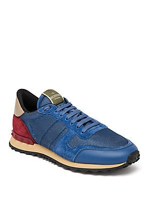 1f26c6095d0a Valentino Rockrunner Mesh Studded Sneakers - Blue
