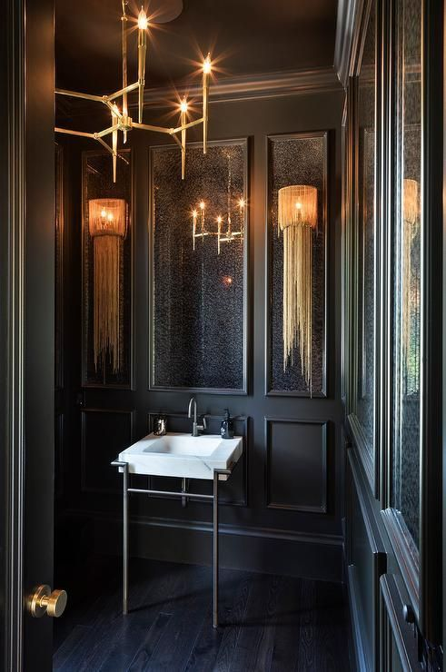 Chic Bathroom Design With Matte Black Walls And A Modern Brass