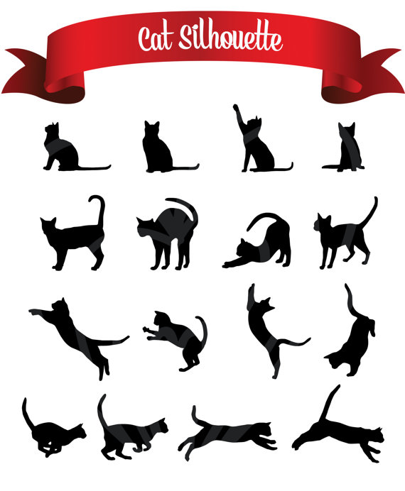 Black Cats Silhouette Digital Clip Art Embellishments Scrapbook Png Printable Clipart Instant Download Commercial Use