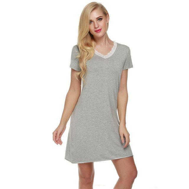 Women Casual Nightdress V-Neck Sleep Lounge Shift Dress Short Nightgown Soft Cotton Ladies Sleepwear