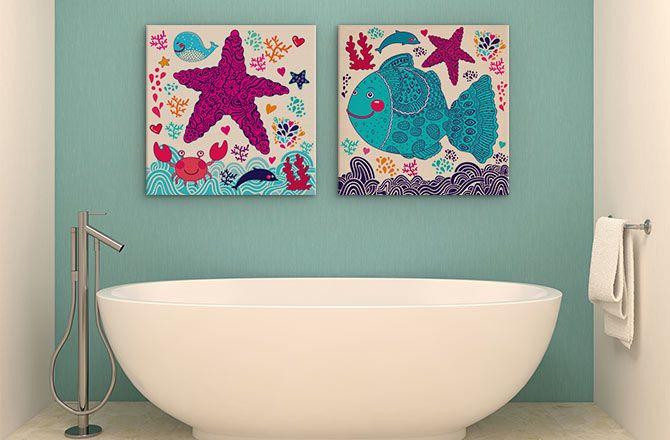11 Exquisite Canvas Painting Ideas For Tricky Spaces Space Wall Art Bathroom