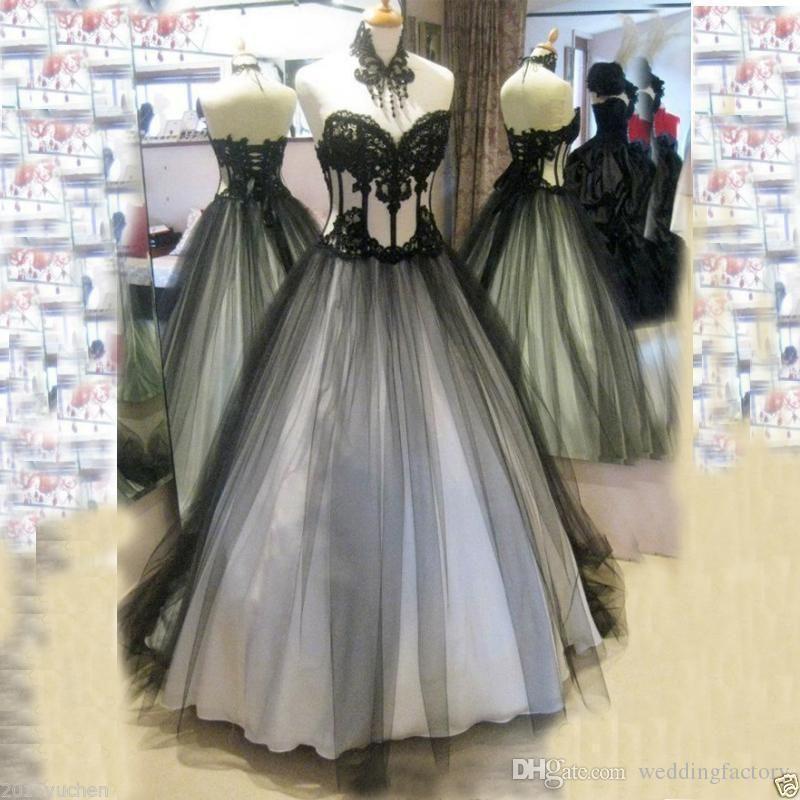 2018 Black White Appliqued Vintage Gothic Lace Wedding Dress Bridal ...