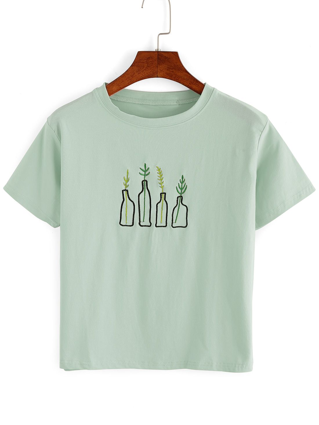7136e7bd919 Shop Green Plant Embroidered T-Shirt online. SheIn offers Green Plant Embroidered  T-Shirt   more to fit your fashionable needs.