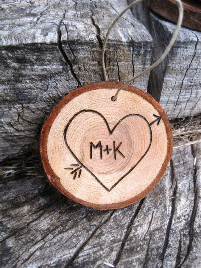 Your Initials in a Heart Wooden Christmas Ornament crafts