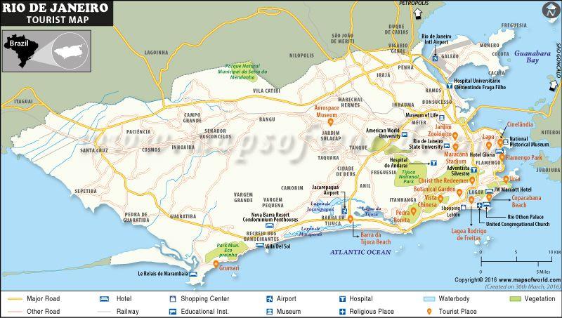 Map Of Rio De Janeiro Tourist Attractions Rio De Janeiro Beach Rio