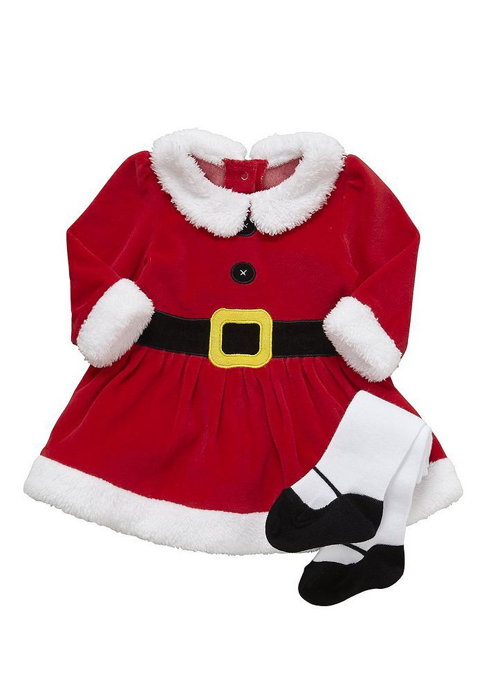 Baby Santa Elf Mrs Santa Christmas Cotton 2 Piece Out Fits Hat Tights New