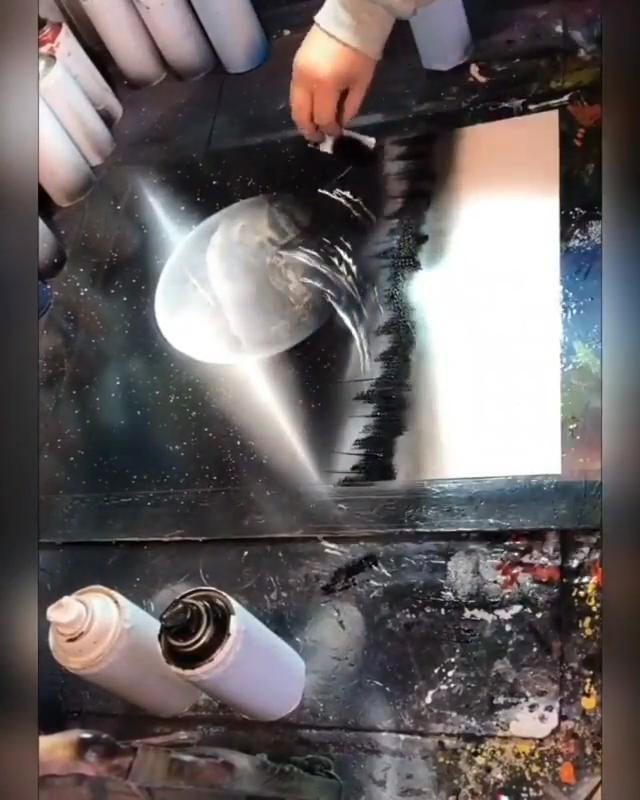 Wait for the final result - you won't regret it... 😳 Artist : 绘拓空间喷漆画艺术 (User on Douyin App) #spraypaint #canvasart #satisfyingvideos #artistoninstagram #artshow #sprayart #spraypaintart #spraypainting #videoart