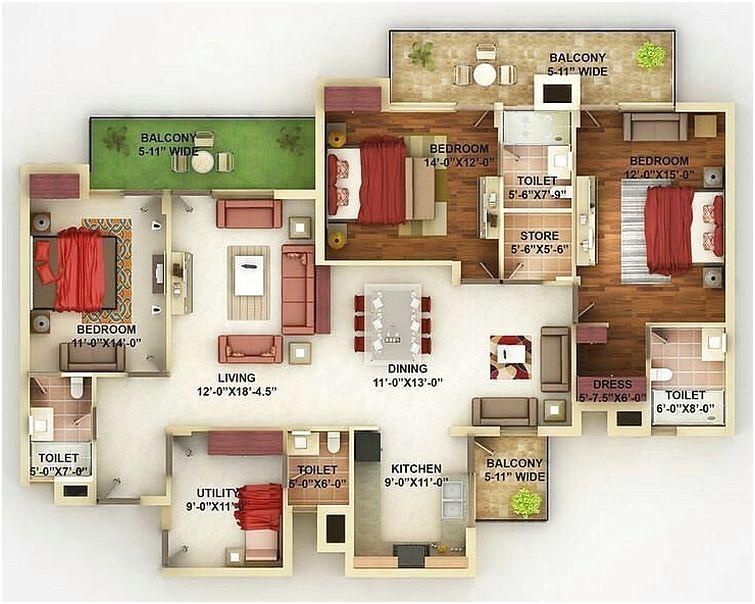 Denah Rumah Minimalist 3 Kamar Tidur Besar Desain Baru 3d Denah Rumah Desain Rumah