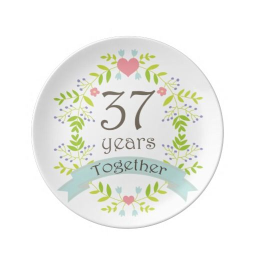 37th Wedding Anniversary Keepsake Gift Porcelain Plate Zazzle