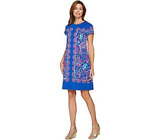 Isaac Mizrahi Live! Engineered Paisley Knit T-shirt Dress