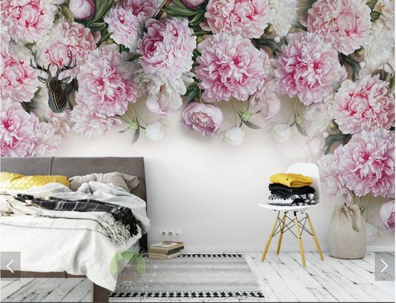 European Peony Flower Wallpaper Wall Mural Floral Murals