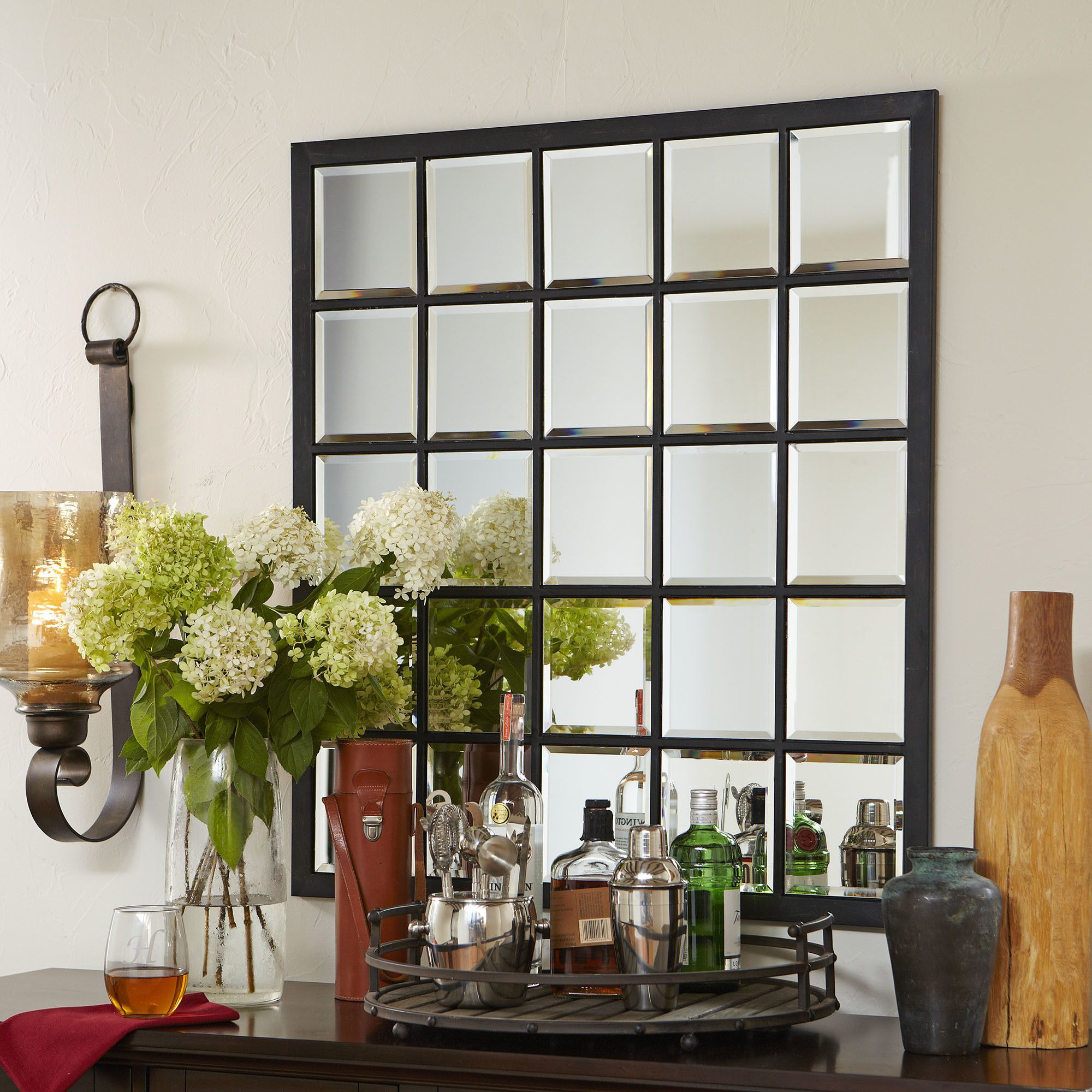 austin industrial beveled accent mirror oversized wall on wall mirrors id=67815