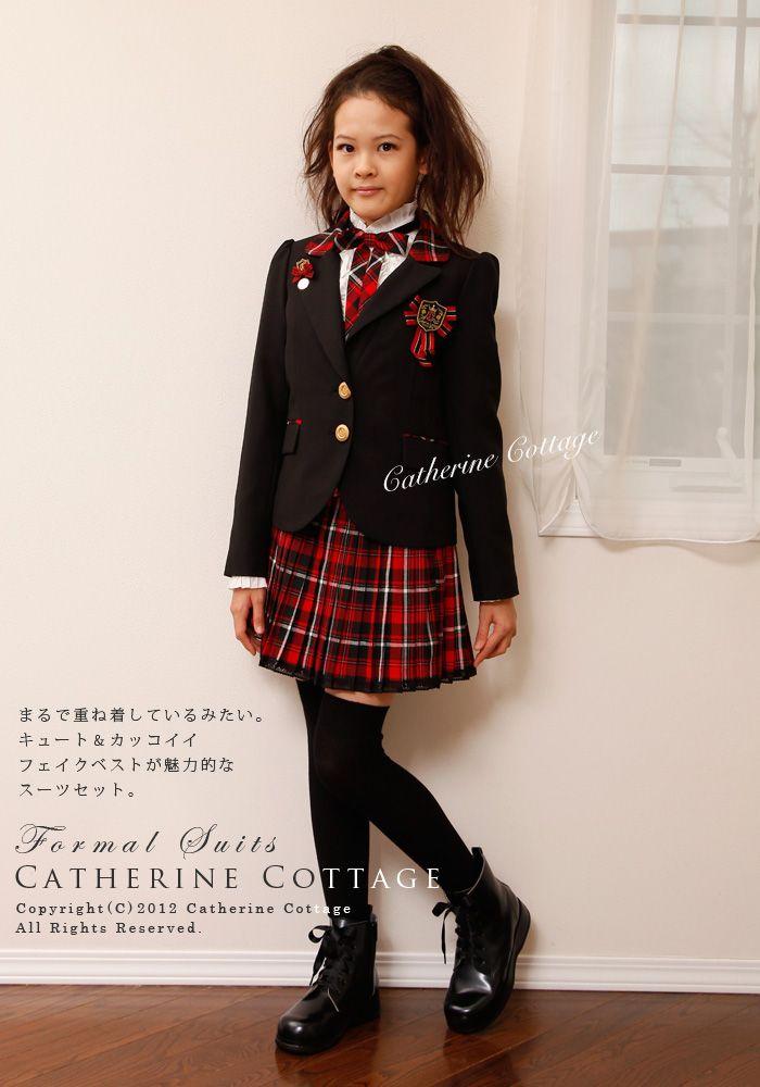 507ae1fc35f 卒服 子供スーツ ガールズフェイクベスト付きスーツ5点セット ブラック タータンチェック 赤