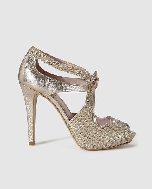 Sandalias de tacón de mujer de Lodi de piel en color oro