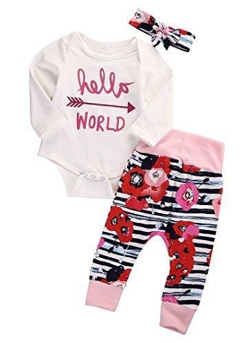 af77f10e05fc 3PCS Newborn Baby Girl Top RomperPants Leggings Coming Home Outfits ...