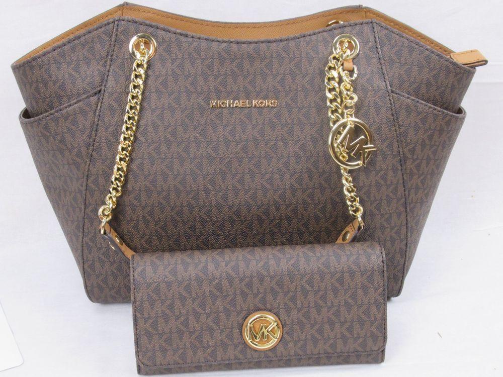 ac81f1edf70768 Michael Kors Brown Jet Set Travel Large Chain Shoulder Tote Bag or Fulton  Wallet