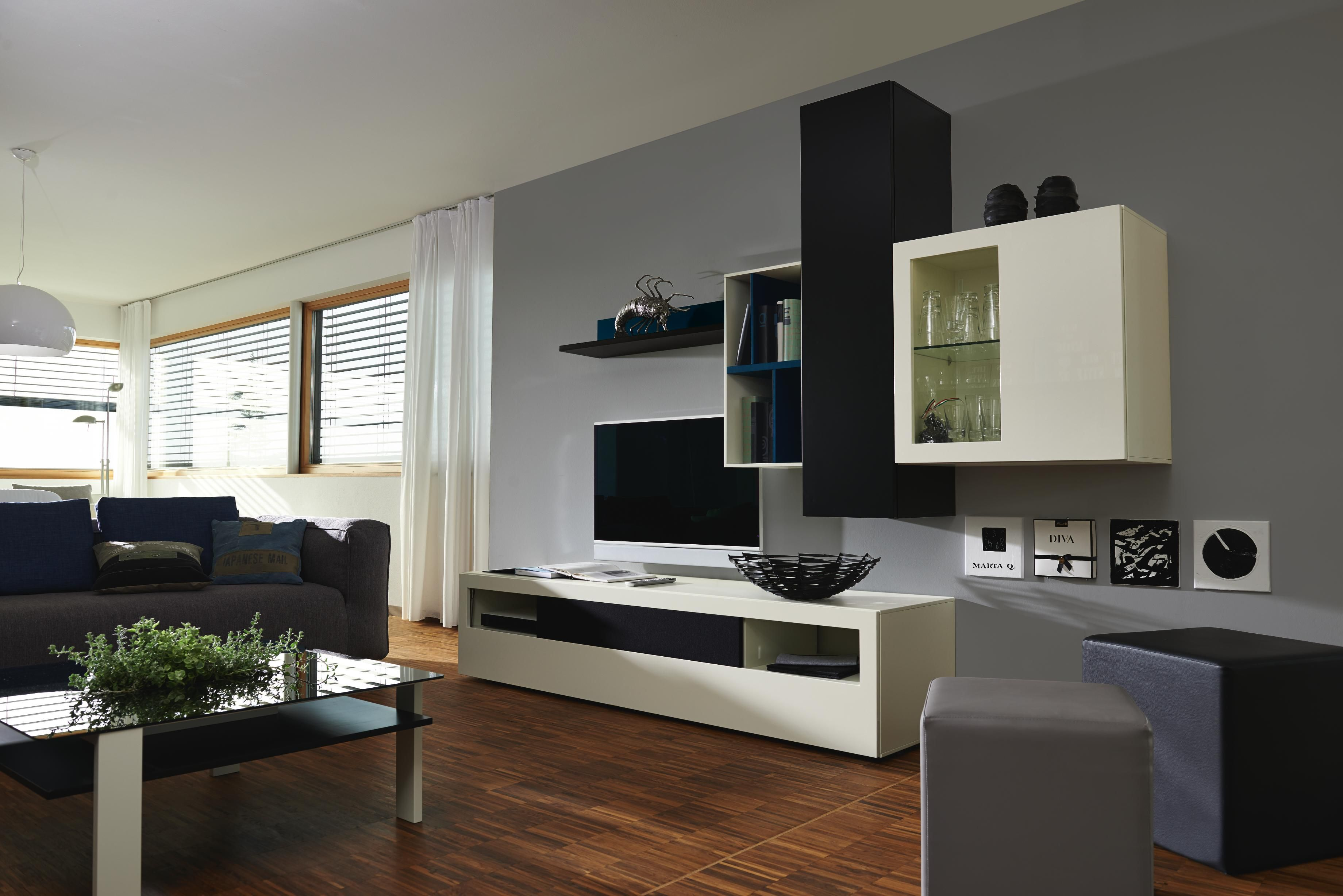 Moderne Wohnwand Style : Wohnwand in petrol schwarz weiß