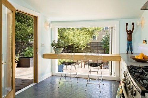 Floating Counter In Front Of Huge Floor To Ceiling Window Minimal