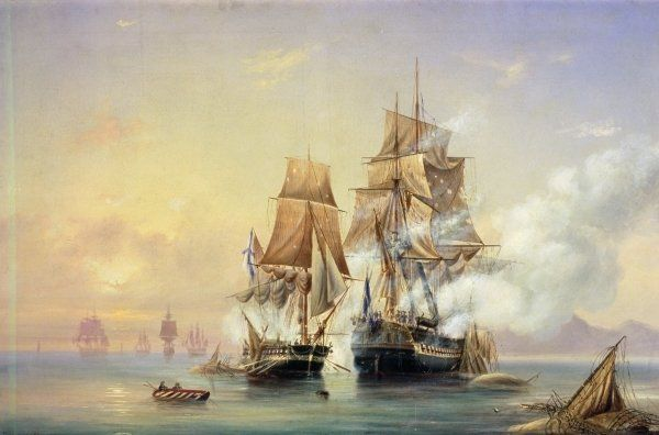 The Russian Cutter Mercury captures the Swedish frigate Venus on 21st May 1789, 1845 Posters & Art Prints by Aleksei Petrovich Bogolyubov - ...