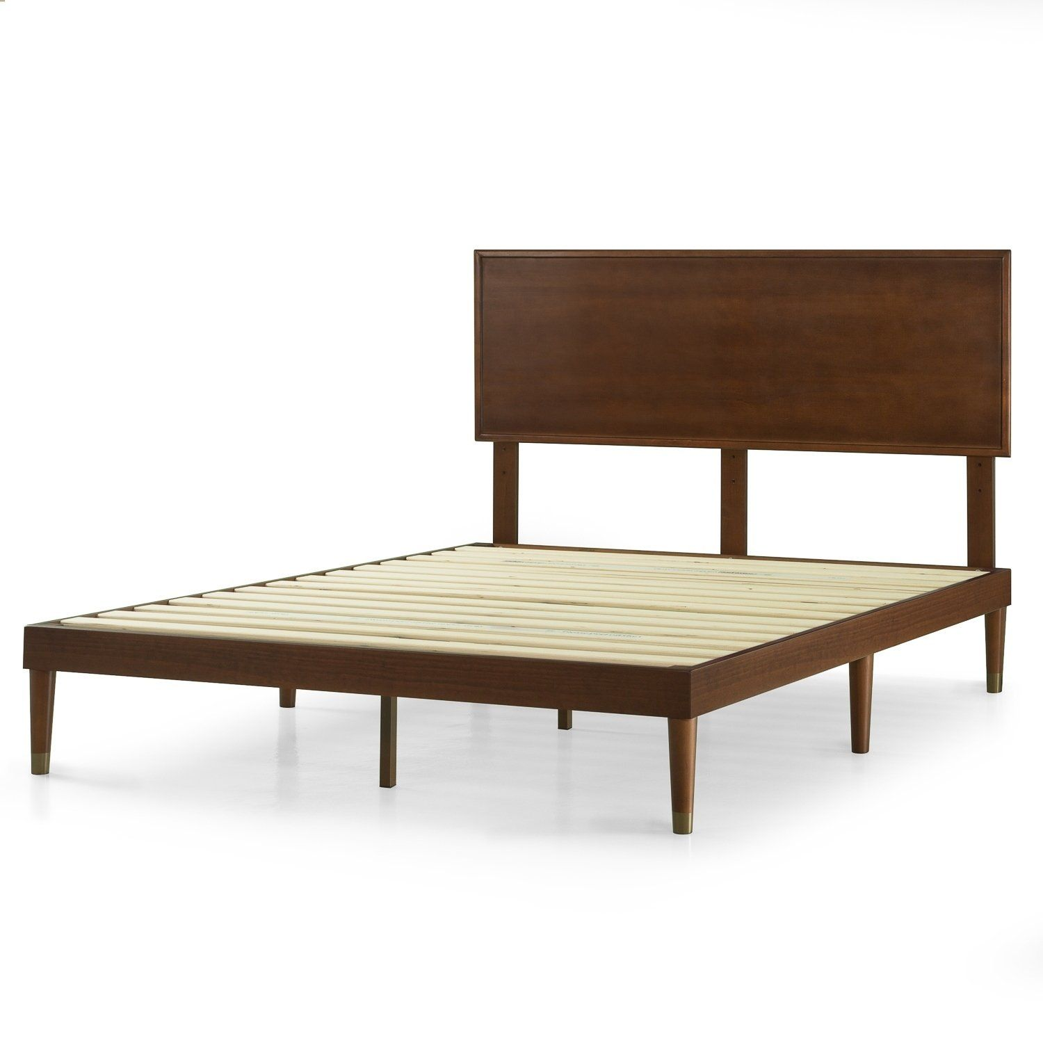 Priage By Zinus 12 Inch Deluxe Mid Century Wood Platform Bed With Headboard Wood Platform Bed Headboards For Beds