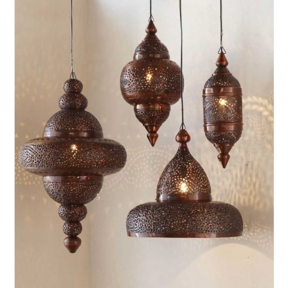 Moroccan Hanging Lamp Collection Antique Copper Vivaterra