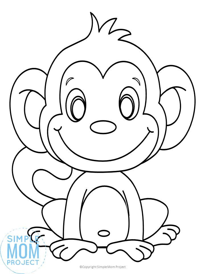 Cute Baby Monkey Coloring Page For Kids Simple Mom Project Monkey Coloring Pages Kids Colouring Printables Cute Coloring Pages