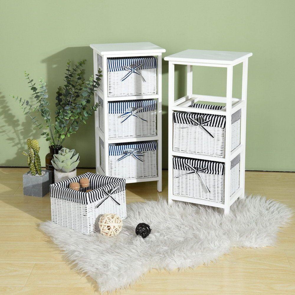 Bathroom Storage Cabinet With 3 Tier Wicker Basket Bedroom Makeup