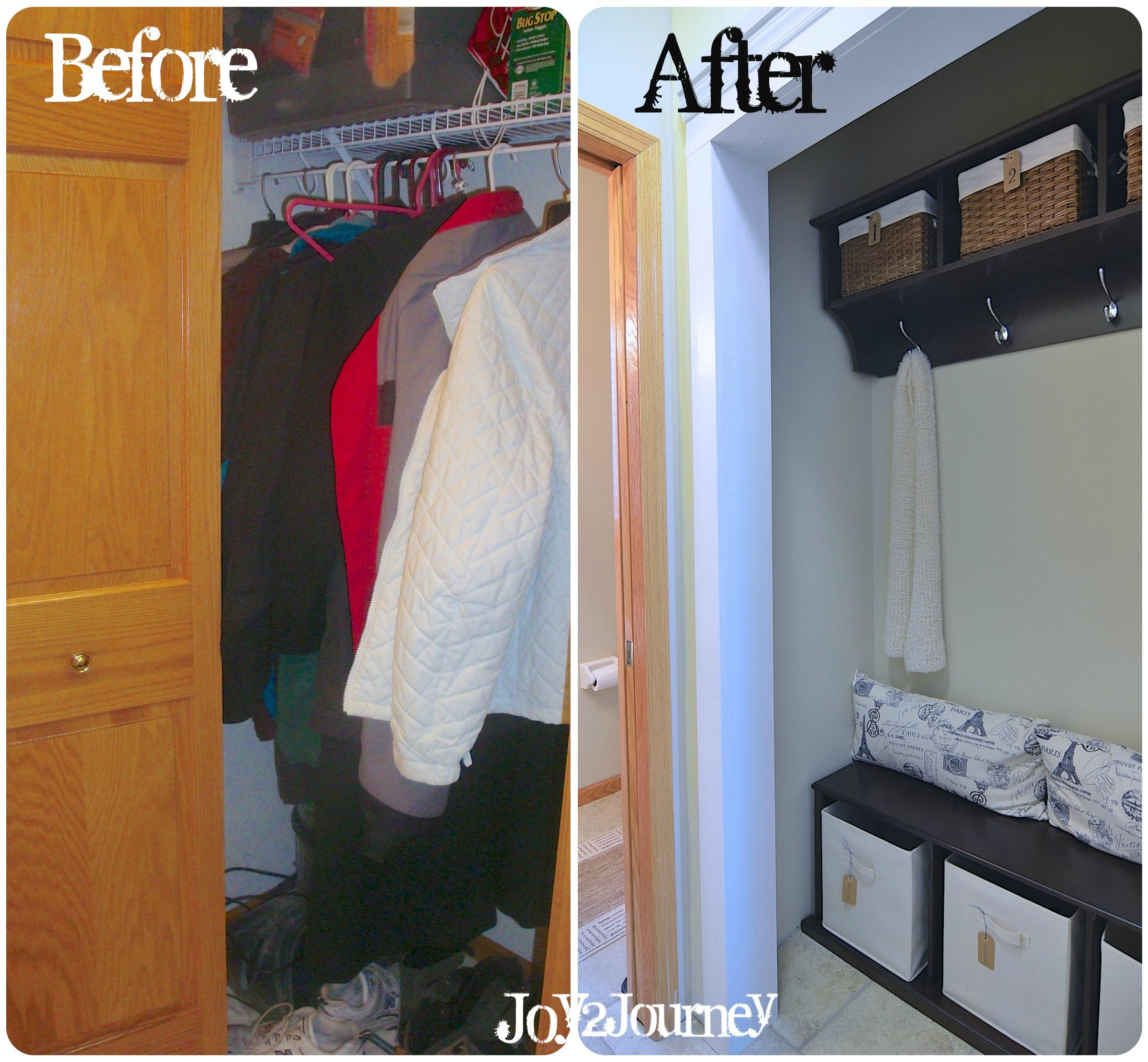 Mudroom Closet Before And After.