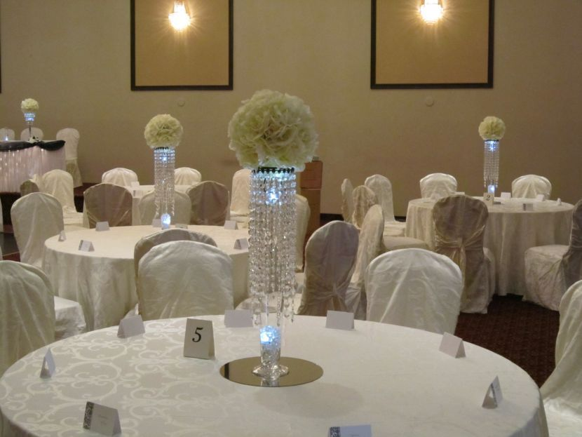 Gorgeous crystal wedding table centerpiece with flower balls