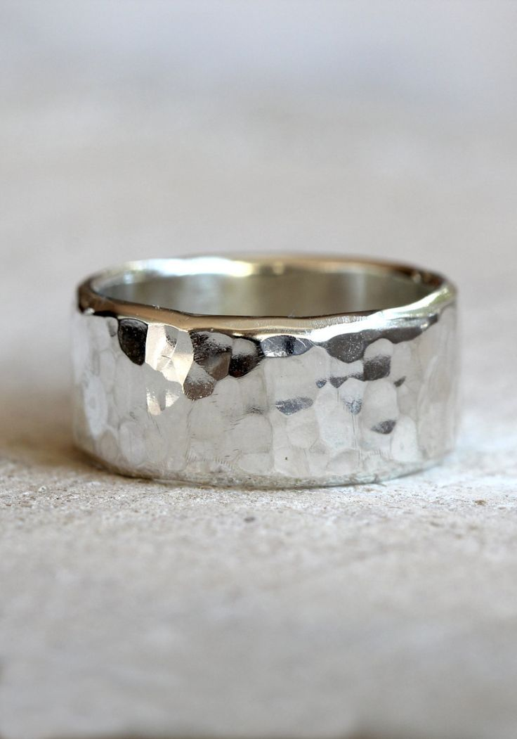 Hammered band men's wide band hammered ring in sterling silver by PraxisJewelry ...
