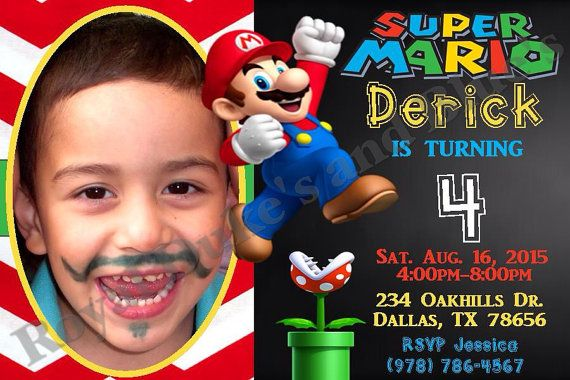Mario invitation,4x6 JPEG file,Super Mario invitations,Mario Theme, Mario invitations,Super Mario, Mario and Luigi,Mario birthday,Chalkboard