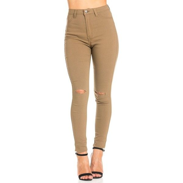Super High Waisted Knee Slit Skinny Jeans in Khaki ($25) ❤ liked on Polyvore featuring jeans, skinny fit jeans, high-waisted skinny jeans, skinny leg jeans, high waisted jeans and high rise jeans