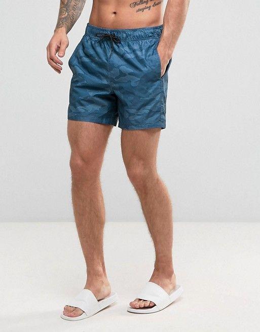 b5d3b4ee86 Hollister Swim Shorts Rigid Guard Logo in Blue Camo | asos men ...
