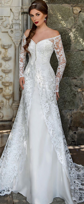 Graceful lace u satin offtheshoulder neckline mermaid wedding