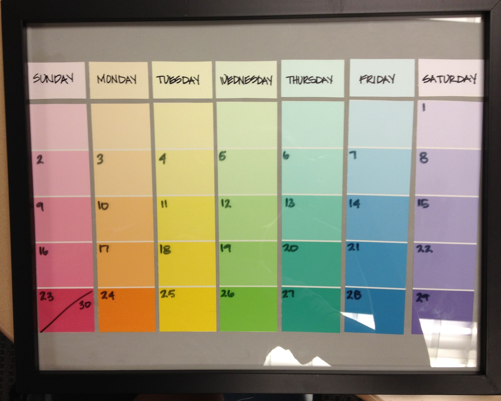 Paint swatch calendar, I\'ll be making one of these soon! | Ideas ...