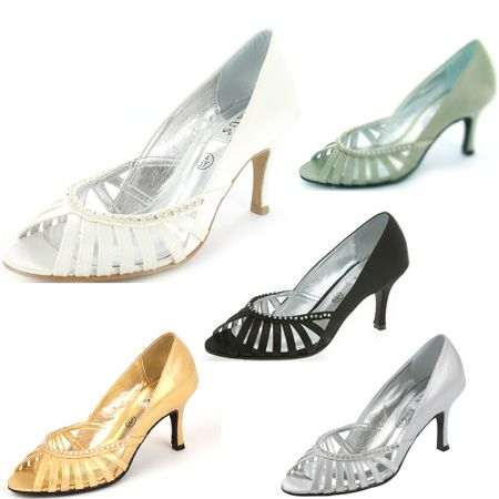 GBP43 Shanika Black Gold Taupe Silver And Ivory Wedding Shoes 75cm