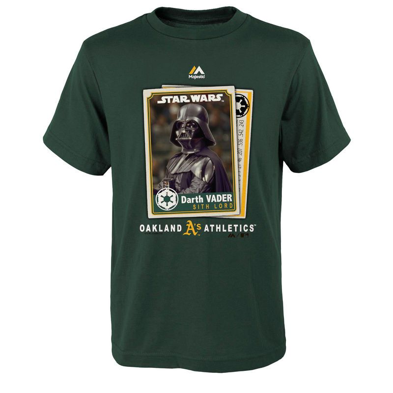 Oakland Athletics Majestic Youth Star Wars Card T-Shirt - Green
