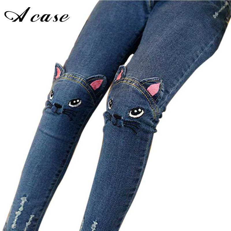 6641acb8a Nice Girls Jeans 2017 Cute Cartoon Pattern Kids Pants Jeans Lovely Cat High  Quality Children Baby Girl Pants Casual Trouse Thick Thin - $26.1 - Buy it  Now!