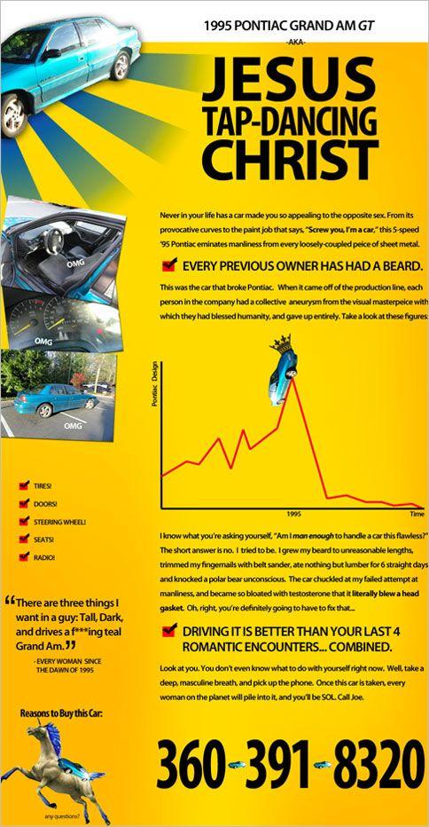 Most Absurd Craigslist Ad Ever For A 95 Pontiac Grand Am Gt
