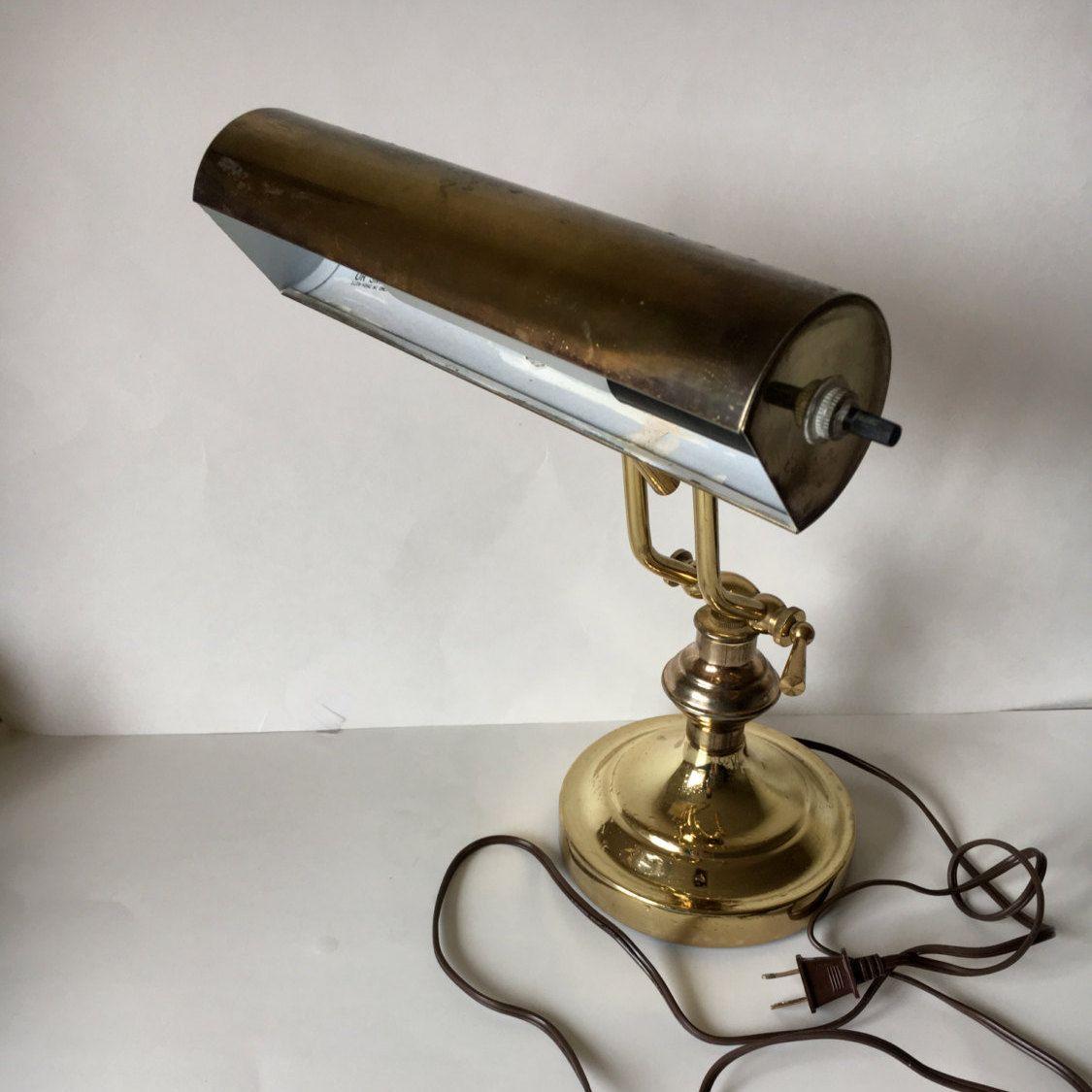 Vintage brass lamp, portable desk lamp, Piano lamp