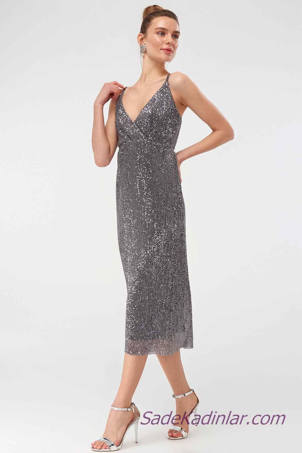 2021 Abiye Elbise Modelleri Gri Midi Askili V Yakali The Dress Elbise Modelleri Elbise
