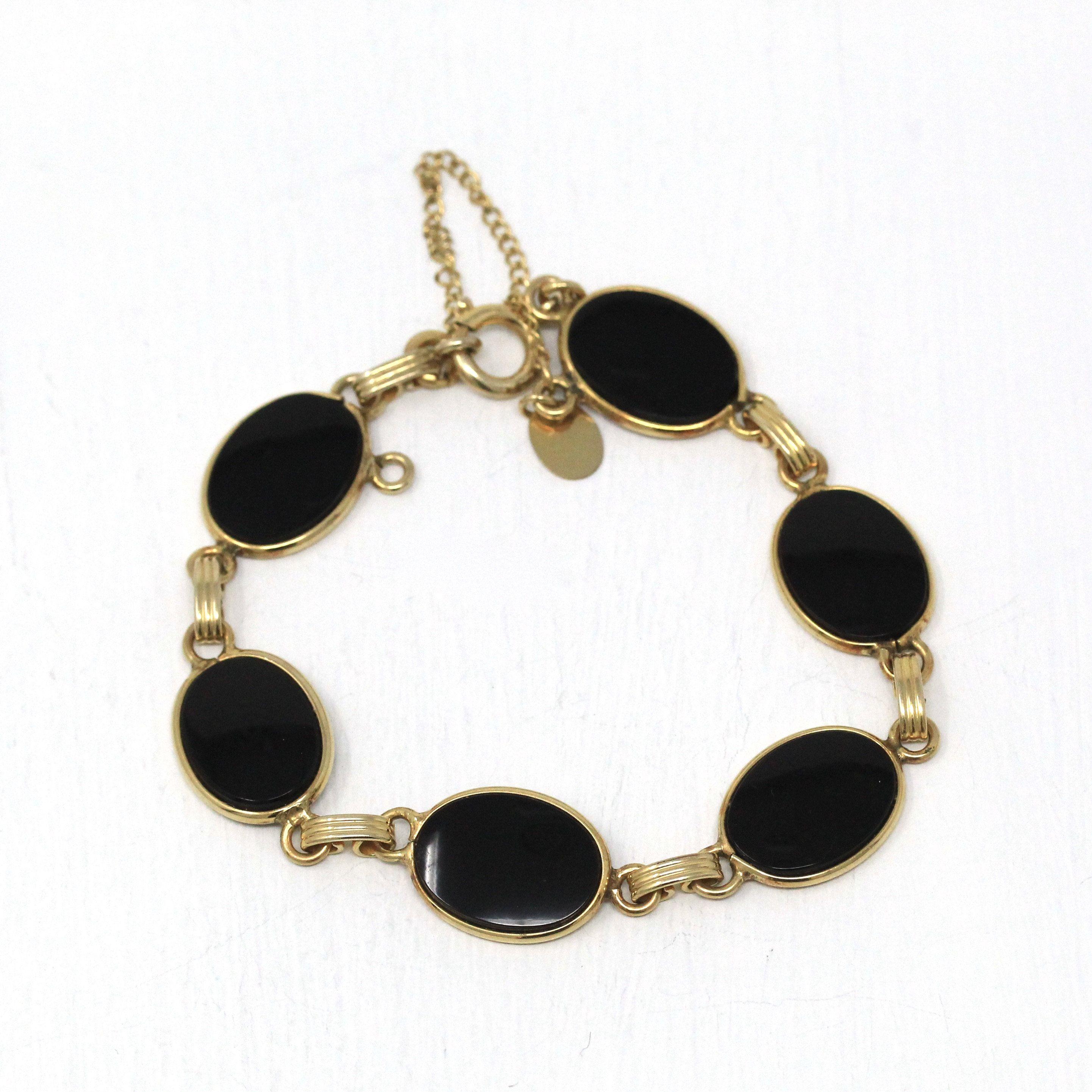 Gift for mom Statement bracelet Gorgeous Gold Cuff with Black Onyx Gemstones Gemstone bracelet
