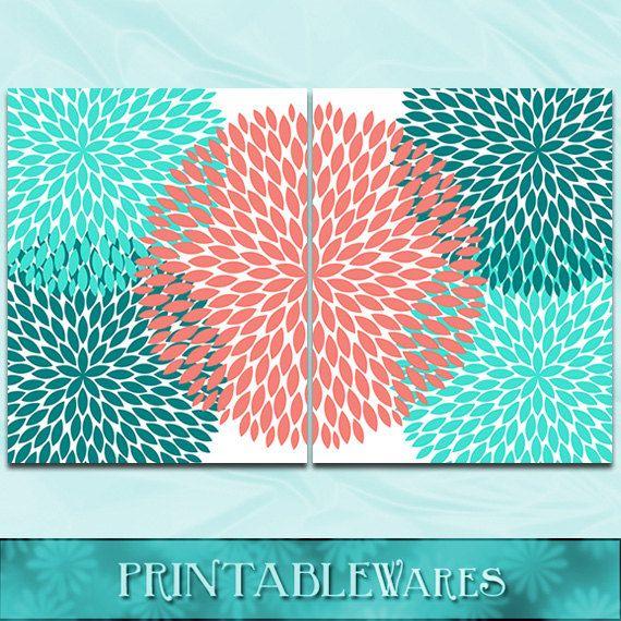 Coral And Turquoise Wall Art Teal Chrysanthemum By PrintableWares, $10.00