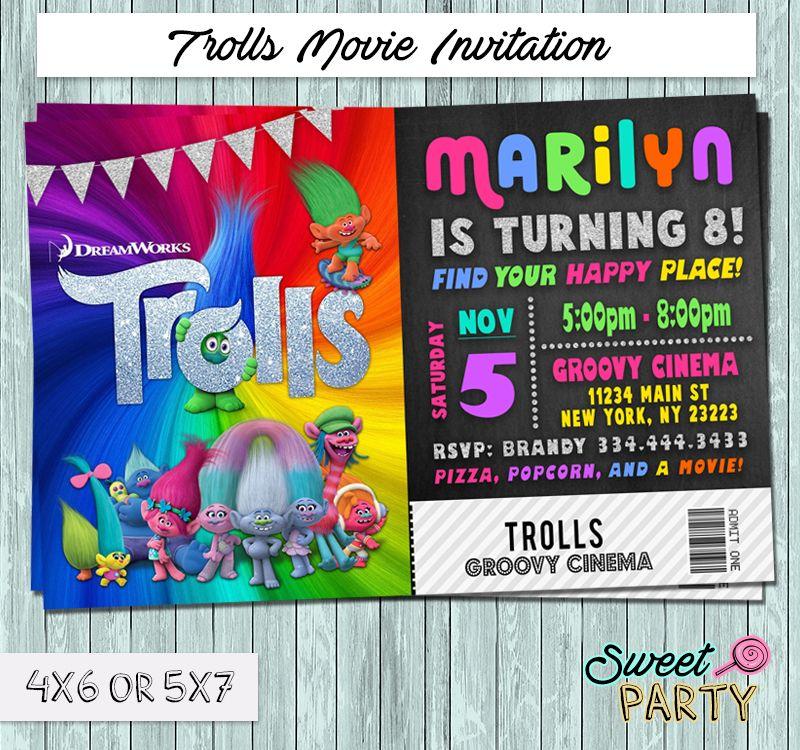 Dreamworks+Trolls+2016+Movie+Ticket+Invitation+-+You+Print+Party+ ...