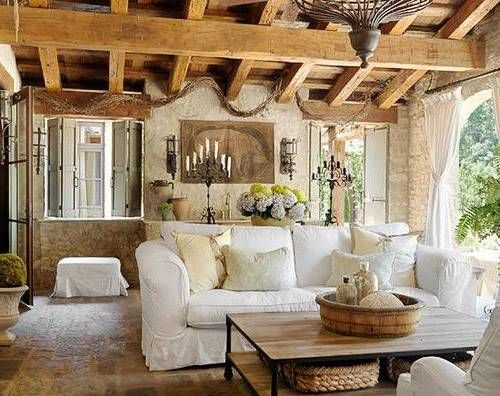 Living Room Natural Tuscan Rustic With Wooden Ceiling And