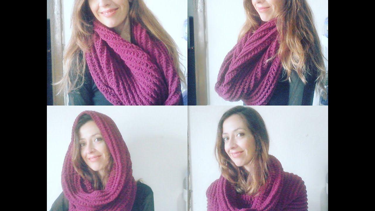 Maxi Gola ou Touca Gola em croche / Crochet hooded infinity scarf ...