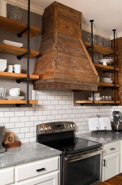 White Kitchen With Wood Range Hood | Home | Kitchen | Pinterest